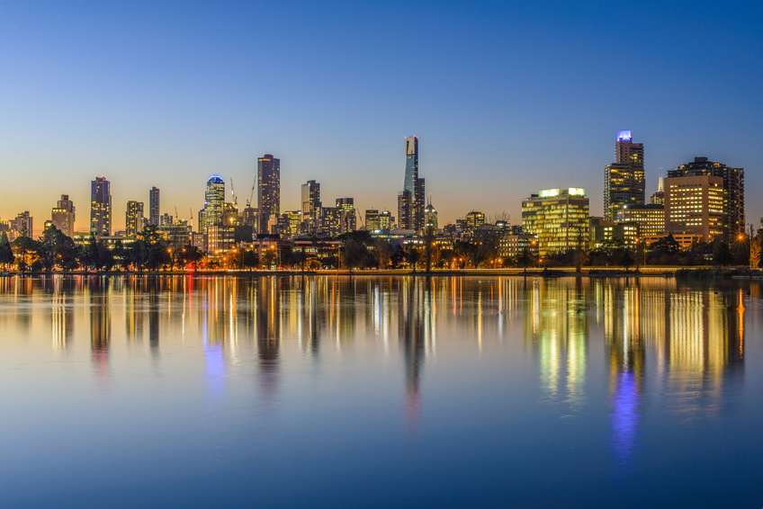 Melbourne skyline at nightfall