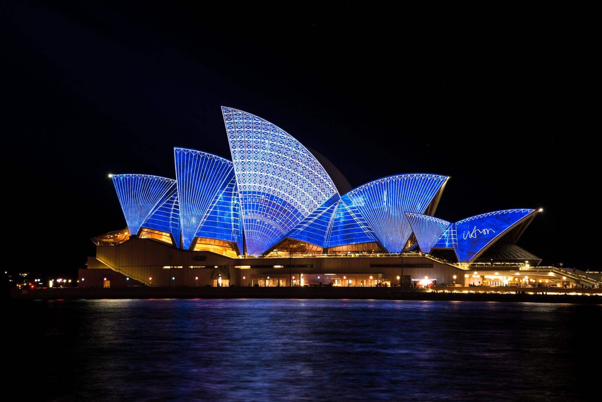 Sydney Opera House illuminated at night